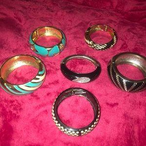 6 metal bracelets